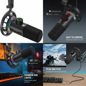 USB Gaming Microphone, FIFINE RGB Dynamic Mic for PC, with Tap-to-Mute...