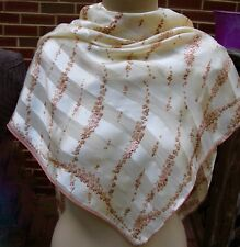 "1990s Anne Klein 100% Satin-Silk Stripes & Flowers Scarf 36"" Cream & Mauve-Brown"