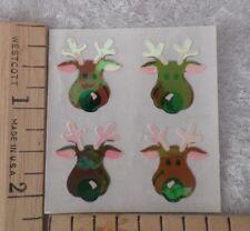 Vtg Sandylion Pearl RARE Iridescent Reindeer STICKERS~Quad,1mod=4~Christmas~WOW!