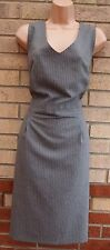 PRIMARK GREY PINK STRIPE FORMAL TAILORED WORK PENCIL TUBE BODYCON DRESS 20