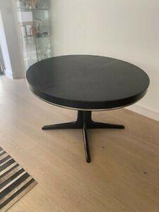 Round black teak dining table extending - French Vintage