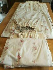 LAURA ASHLEY Vintage Lot de 3 rideaux motifs de roses sur fond beige