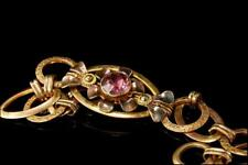 Vintage Pink Ruby Paste Flower Steling Gf Bracelet A805-92