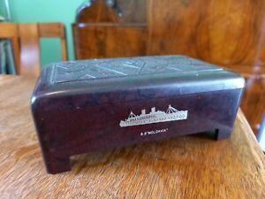 Superb Rare P&O SS MOLDAVIA Embossed and inlaid Bakelite Lidded Box