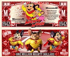 Mighty Mouse Million Dollar Bill Collectible Fake Play Funny Money Novelty Note