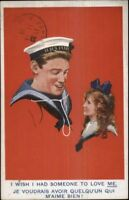 Emglish Navy Sailor & Little Girl French Caption FADEAWAY ART Postcard