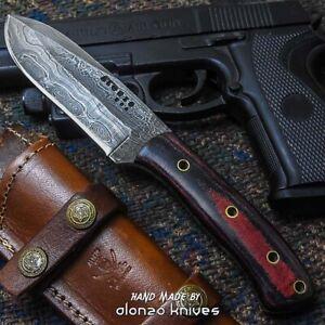 ALONZO USA CUSTOM HANDMADE DAMASCUS  TACTICAL HUNTING KNIFE MICARTA  20456