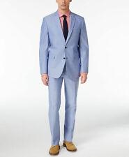 $726 Tommy Hilfiger 44r Mens Blue 2 Piece Slim Fit Suit Blazer Coat Jacket Pants