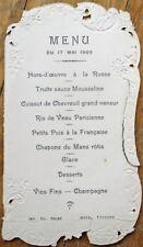 Menu: French 1909 w/Diecut Edge - Hotel Touvard - Cuissot de Chevreuil