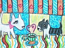 Miniature Bull Terrier Drinking Coffee Dog Pop Folk Vintage Art 4x6 Signed Print
