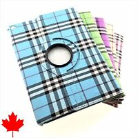 360 Folding High Quality PU Leather Plaid Case Skin Stand Cover for iPad Air 2