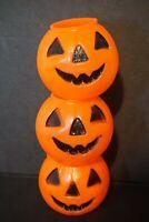 Vintage Lot of 3 Small Halloween Pumpkins Blow Mold Carolina Enterprise1980