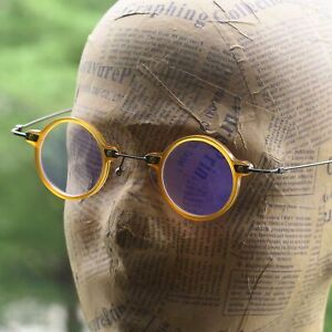 Round Blonde Eyeglasses John Lennon mens Acetate metal Glasses RX clear eyewear