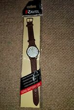 Ravel Men's Unisex Women Brown Leather Strap Watch Easy Read Clear Dial Free P&P