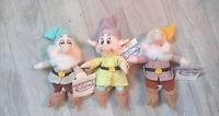 """Lot Of 3 Walt Disney Snow White Dwarf 8"""" Plush Figures Sleepy Sneezy Dopey"""