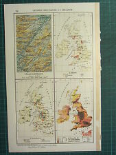 1921 MAP ~ GREAT BRITAIN & IRELAND MINES POPULATION INDUSTRIES CALEDONIAN CANAL