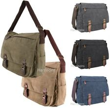 UNISEX CANVAS SATCHEL MESSENGER SHOULDER MAN BAG UNI FLIGHT DURABLE LONG STRAP