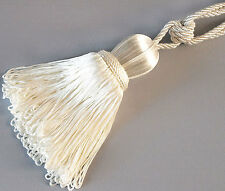 Bright White. 2 Tassels With Lots Of Fringe for Curtains. Extra Large.