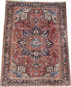 Semi antique handmade P'ersian Heriz wool rug in dark red and blue 9.6 x 7 FT