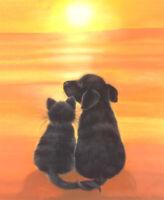 DOG BLACK LAB & CAT LIMITED EDITION FINE ART PRINT /Original Painting S Barratt