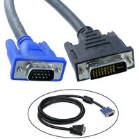 5FT/1.5M DVI-I Dual Link (24+5) Male to VGA Male Video PC Adapter Monitor Cable