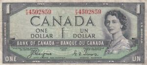 """1954 Canada $1 """"Demon's Face"""" Note, Pick 66a"""