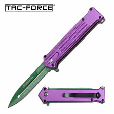 Tac Force Spring Assisted Open Purple Green Joker Why So Serious? Fantasy Knife