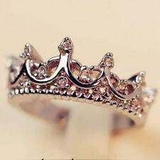 Queen Crystal Crown Sterling Silver Plated Bridal Rings Size 5.5 #15