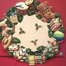 """Fitz And Floyd Toyland Canape Plate Cookies Appetizers 3-D 8.5"""" Wall Hanger"""