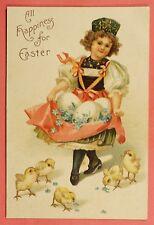 1908 Embossed Easter Postcard Pretty Girl Eggs Chicks