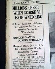 CORONATION OF KING GEORGE VI and QUEEN ELIZABETH w/ Photos 1937 Old Newspaper