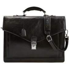 Leather Messenger Bag Briefcase Bag Satchel Black Floto Ponza (2006BLDS)