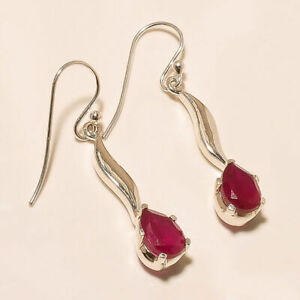 """4.30 Gm 925 Solid Sterling Silver Lab Created Ruby Cut Stone Earring 1.6"""" i-651"""