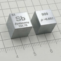 Antimony Sb 10mm Cube Carved Element Periodic Table 1 Piece 99.9% High Purity
