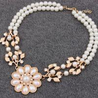 Women's Pearl Leaves Short Necklace Chain Bohemian Pendant Short Necklace Cheap