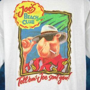 vintage 90s CAMEL JOE'S BEACH CLUB POCKET T-Shirt XL cigarette cartoon  thin