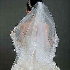 1*1.5M Lace Edge White Wedding Bride Veil Mantilla Bridal Bride Veil Accessories