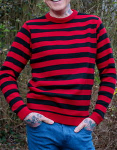 MENS NEW run & fly retro emo indie vintage  style black & red striped jumper
