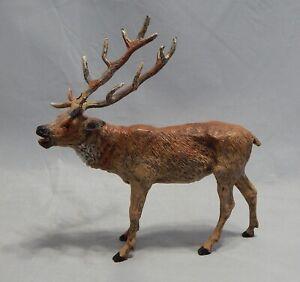 "Antique Germany Large Hand Painted Metal Stag Reindeer Figure 7 3/4"""
