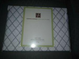 Concierge Collection Microfiber King Sheet Set=NIP=Grey Lattice
