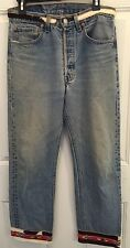 LEVI'S denim 501 jeans  beaded W/ Cow Hide Buzz 18 Custom western Size 10 32x34