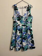 Portmans women's green/blue floral fit and flare dress size 12