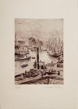 Valdo Louis Barbey gravure originale signée Port de Bilbao Espagne Suisse