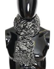 Dolce & Gabbana Black Wool Knitted Mens Scarf Wrap Shawl 150cm X 25cm