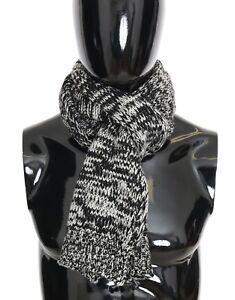 NEW DOLCE & GABBANA Black Wool Knitted Mens Scarf Wrap Shawl 150cm x 25cm
