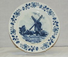 Delft Blauw Plate Hand Decorated Blue Windmill Farm Goose Fence Flower  9 1/4""