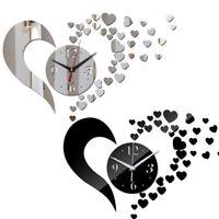 Adesivo parete specchio orologio cuore cuori idea regalo San Valentino romantico