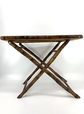 Vintage Tortoise Bamboo Folding Side Accent Plant Stand Table Boho Decor