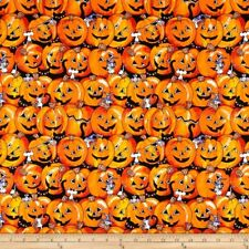 Halloween Pumpkin Cats  Cotton Fabric Santee By the Yard BFab Boo