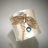 Handmade Women Two Tone 925 Silver Dragonfly Animal Ring Aquamarine Jewelry Gift